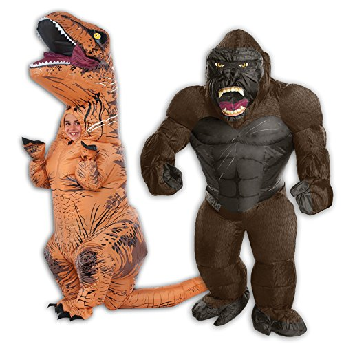 Inflatable Child T-Rex and Child King Kong Costume Bundle