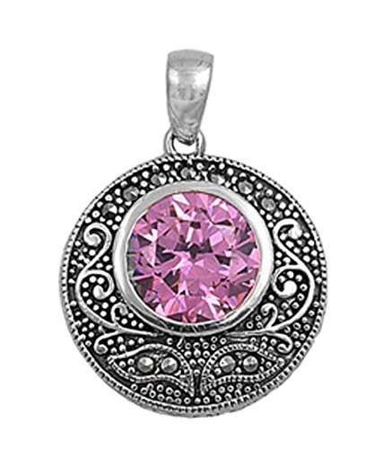 - Pendant Pink Simulated CZ Simulated Marcasite .925 Sterling Silver Charm - Silver Jewelry Accessories Key Chain Bracelet Necklace Pendants