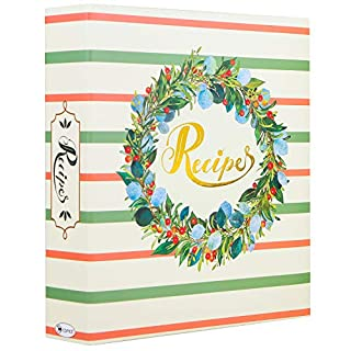 COFICE Recipe Binder – 8x9 Recipe Organizer Binder with Plastic Page Protectors and Tabbed Dividers, Garland Design