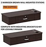 DUO Styling Stations 2 MARKISON BROWN Wall Mount Station for Beauty Salon Styling Spa