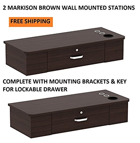 DUO Styling Stations 2 MARKISON BROWN Wall Mount Station for Beauty Salon Styling Spa by Berkeley