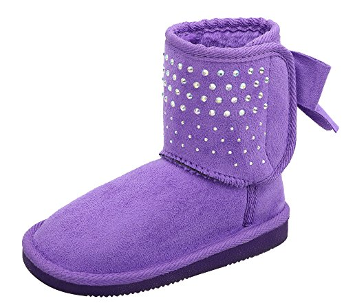 Kids' Sparkle Faux Suede Sherpa Lined Winter Boot With Sequins and Bow Purple 1