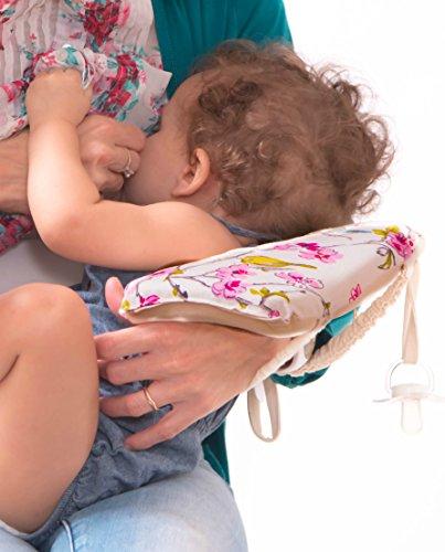 Slip-on Arm Nursing Pillow & Plush w/Slip-Cover & Carry Bag 8.5 x 7 x 2.75 in