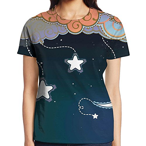 - WuLion Cartoon Style Night Sky with Swirled Clouds Stars and Moon Dotted Lines Women's Soft Short Sleeve T Shirt XL