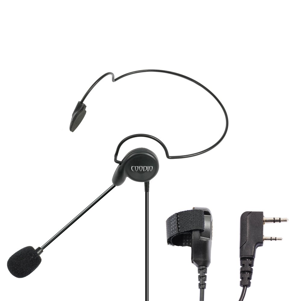 Coodio Tactital Behind-the-Head Earpiece Headset Mic [Boom Microphone] [Noise Cancelling] For 2 Pin Kenwood Baofeng Wouxun 2 Way Radio Walkie Talkie
