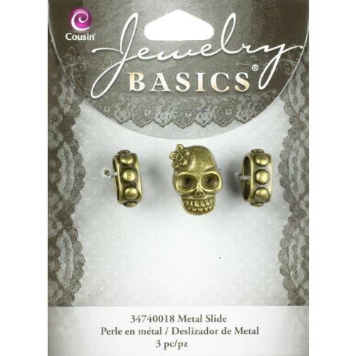Slide Bracelet Metal Slide-Gold Skull 3/Pkg