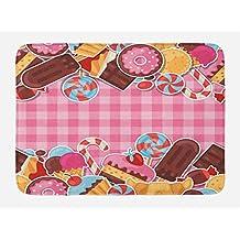 Ambesonne Ice Cream Bath Mat, Candy Cookie Sugar Lollipop Cake Ice Cream Girls Design, Plush Bathroom Decor Mat with Non Slip Backing, 29.5 W X 17.5 W Inches, Baby Pink Chestnut Brown Caramel