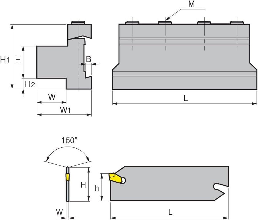 Spannblock f/ür Abstechschwert H:12 // W:12 // f/ür Schwerth/öhe 19mm
