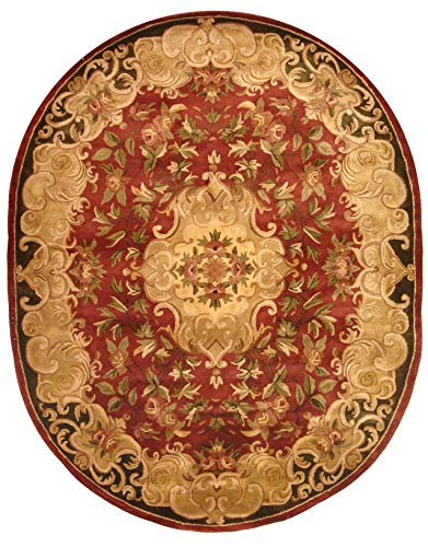 Safavieh Classic Collection CL234A Handmade Traditional Oriental Rust and Green Wool Oval Area Rug (7'6