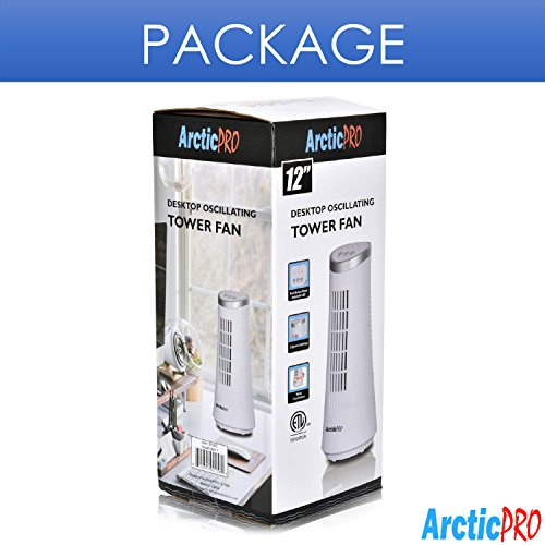 Arctic-Pro Mini OSCILLATING Tower Fan Slim and Compact Operation, 75 Oscillation for inches, White