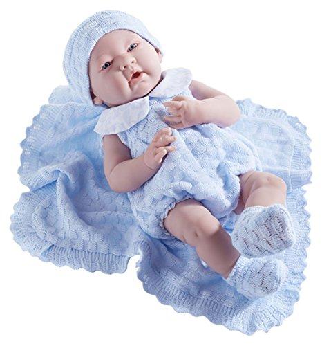 JC Toys La Newborn in a Blue Knit Blanket