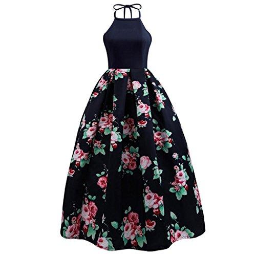 Kimloog Women's Sleeveless Backless Halter Bridesmaid Gown Floral Print Patchwork Maxi Dress (XL, Navy) by Kimloog