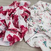 2 Pack Softest Bamboo Muslin Swaddle Blankets for Baby 70% Bamboo 30% Cotton XL 47 x 47  by Graced Soft Luxuries (Floral Garden)