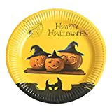 10Pcs Halloween Paper Plates Disposable Paper Dishes Halloween Party Supplies (E)