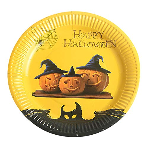 MOKO-PP 10Pcs Halloween Paper Plates Disposable Paper Dishes
