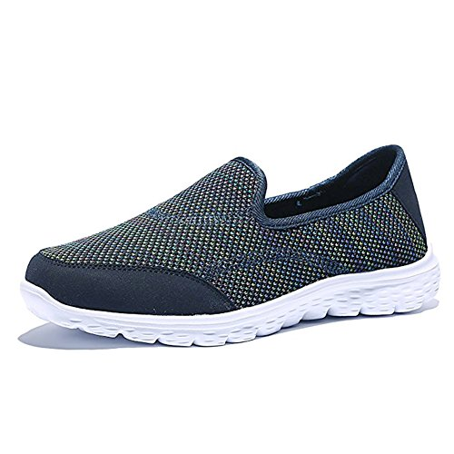 大使館煙突広々とした(3.5 UK, Dark Blue) - HQUEC Womens Lightweight Mesh Trainers Slip On Gym Sports Walking Running Shoes