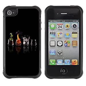 Hybrid Anti-Shock Defend Case for Apple iPhone 4 4S / Different Elements