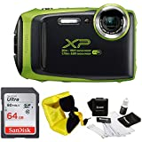 FujiFilm FinePix XP130 Rugged Waterproof WiFi Digital Camera (Lime Green) + Focus Floating Strap & SanDisk 64GB Card Bundle