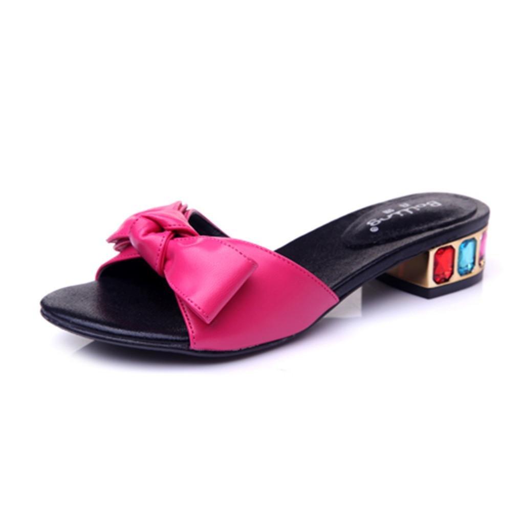BaiLing Damen Sommer Pantoffeln/Mid Heel Open Toe/Sweet Bowknot Kleine Größe Rose Weibliche Sandalen Schuhe, Rose Größe ROT, CN31 - 85694b