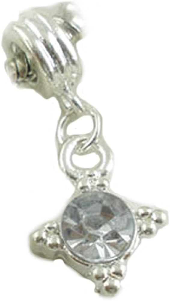 April Birthstone Clear Rhinestone Spacer Charm for Silver European Bead Bracelet