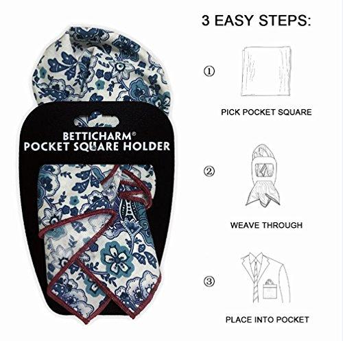 BettiCharm Slim Pocket Square Holders, Men's Suit Handkerchiefs Keeper/Organizer (5 Pack) by BettiCharm (Image #3)