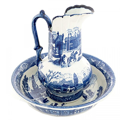 Renovator's Supply  Delft Blue Ceramic Washbasin And Pitcher Set