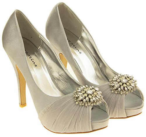 grappolo a raso Argento sposa Sabatine Donna diamante da scarpe XgSUFwqH