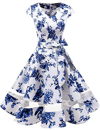 Plus Size Vintage Wedding Dresses - Gardenwed Women's 1950s Rockabilly Cocktail Party Dress Retro Vintage Swing Dress Cap-Sleeve V Neck Blue Flower 3XL