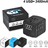 Universal Travel Power Adapter with Smart High Speed 2.4A 4xUSB Wall Charger, European Adapter, Worldwide International AC Outlet Plugs Adapters for Europe, UK, US, AU, Asia (Black)