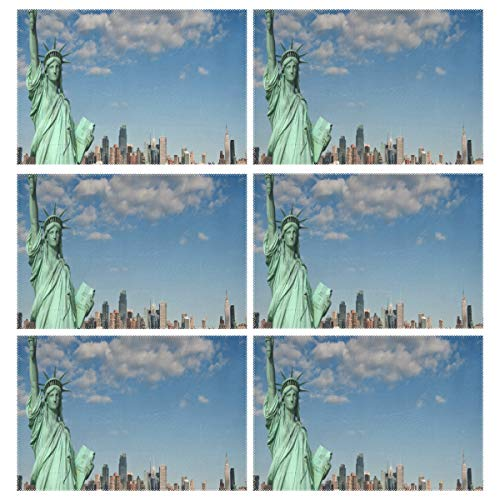 Cocoa trade Heat Resistant Placemats for Kitchen Table Mats Dining Room,Lady Liberty Statue Washable Insulation Non Slip Placemat 12x18 inch(6 pcs) -