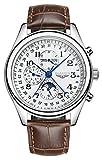 Carlien Luxury Men Men's Leather Auto Mechanical Sport Waterproof Wrist Watch