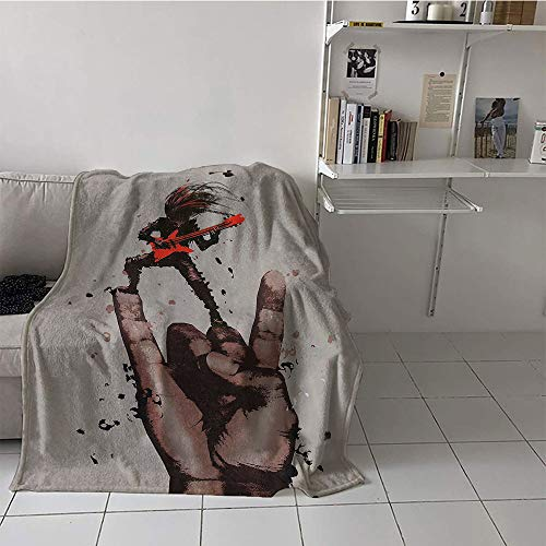 - Custom homelife Children's Blanket Couch Digital Printing Blanket (70 by 90 Inch,Fantasy Art House Decor,Musician Bass Guitarist with Rock N Roll Gesture Heavy Metal Image,Coral Brown