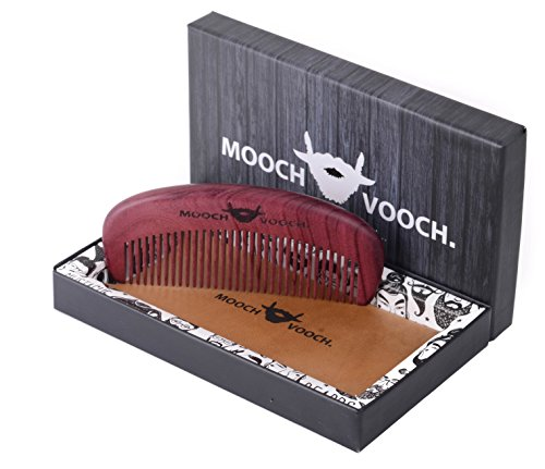 Beard & Mustache Comb With Pure Leather Pouch Anti Static & Vintage Style Natural Chacate Preto Wood Handmade & Unique Shaping & Styling Tool For Breads A Premium Giftbox By Mooch Vooch