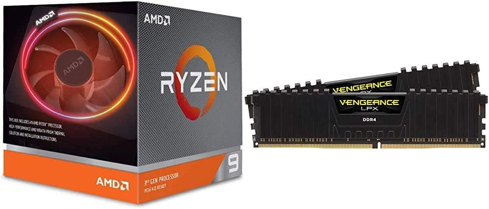 AMD Ryzen 9 3900X 12-core, 24-Thread Unlocked Desktop Processor with Wraith Prism LED Cooler Bundle with Corsair LPX 32GB (2x16GB) 3200MHz C16 DDR4 DRAM Memory Kit, Black (CMK32GX4M2B3200C16)