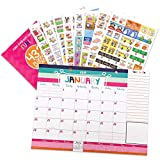2019-2020 Monthly Desk Calendar + Event Stickers Variety Set (Total of 432 Stickers) with Tear-Off Lists, Scheduling Tools, Bill Pay Worksheet and More (Bundle of 2 Items)