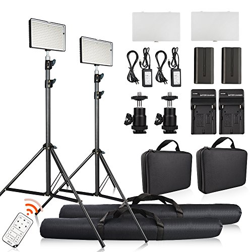 FOSITAN 2 Set LED Video Studio Lighting Kit, Bi-color 336 LED 3200K-5600K Dimmable 2350 Lux CRI 96+, 75 inches Light Stand, Rechargeable Battery+Charger, Power Adapter, 24W by FOSITAN