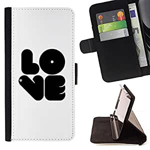 For Samsung Galaxy Note 4 IV - Black LOVE /Funda de piel cubierta de la carpeta Foilo con cierre magn???¡¯????tico/ - Super Marley Shop -