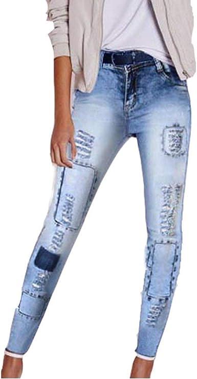 Pantalones Vaqueros Para Mujer Parches De Pantalon Desgarrados Pitillo Pantalones Fashion Elastique Con Bolsillos Botones Pantalones De Mezclilla Elasticos Pantalones Casuales Amazon Es Ropa Y Accesorios