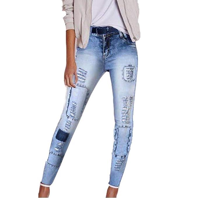 Pantalones Vaqueros para Mujer Parches De Pantalón Pitillo ...