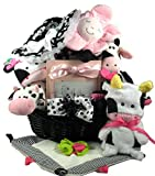 Gift Basket Village and The Cow Says, Cow Themed Baby Girl Gift Basket, 11 Pound