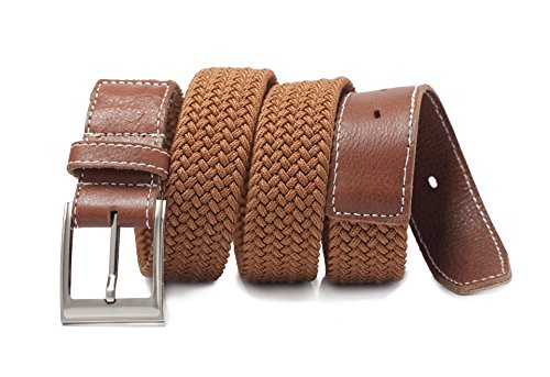 Yimanda Genuine Leather Woven Multi Elastic Belt - Durable Leather with Casual Elastic Belt, Fit for Men Jean,dress Pants and More Trousers (Size:M(32--34 Inches Waist), - Woven Trousers Mens