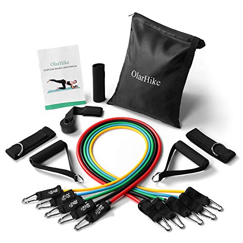 OlarHike 13pcs Resistance Bands Set, Including 5 Stackable Exercise Bands with Door Anchor, Ankle Straps, Carrying Case & Guide Book - for Resistance Training, Physical Therapy, Home Workouts, Yoga
