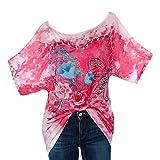 LLguz Women Summer Sexy Rhinestone Love Camouflage Butterfly Printed O-Neck Short Sleeve Blouse Tops T-Shirt (Pink, XL)