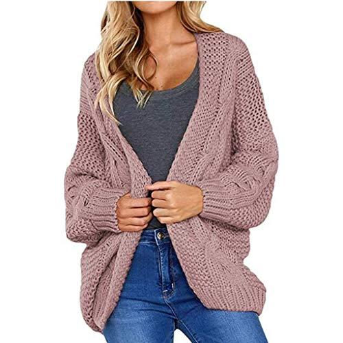 INIBUD CardiganSweatersforWomen Twist Chunky Loose Long Sleeve Open Front Knit CardiganSweater (Vintage Pink, M)