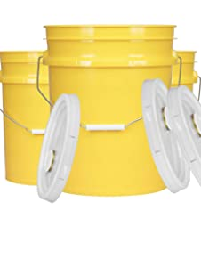 House Naturals 5 Gal Yellow Plastic Buckets Food Grade BPA Free Premium 90 mil pails with Gasket Lids - Pack of 3 - Made in USA