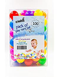 woodi  Crush Proof Plastic Pit Balls, Made Of Food Grade Plastic, Phthalate Free Bpa Free, 6 Colors With Reusable Box And Carry-Out Mesh Net, 100 Piece BOBEBE Online Baby Store From New York to Miami and Los Angeles