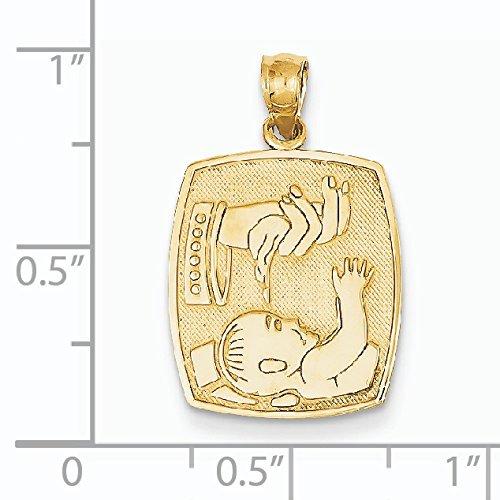 Médaille de baptême 14 carats-Dimensions :  16 x 15 mm-JewelryWeb