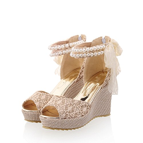 Mostrin Korean Fashion Ladies Lace Bowknot Platform Wedge Sandals Summer Women Open Toe Pearls Ankle Strap High Heel Shoes