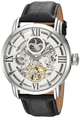 Invicta Men's Objet d'Art Stainless Steel Automatic-self-Wind Watch with Leather Calfskin Strap, Black, 24 (Model: ()