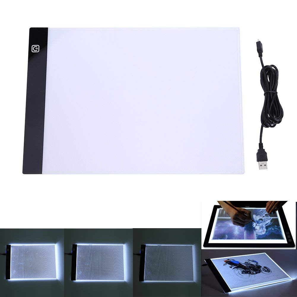 GOWARD A4 Tracing Light Box, Portable USB Power Stepless Adjustable Brightness LED Tracing Light Box for Drawing, Artists, Sketching, Animation